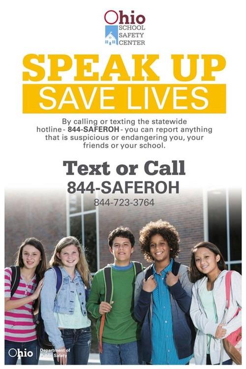 Speak Up poster for free hotline.